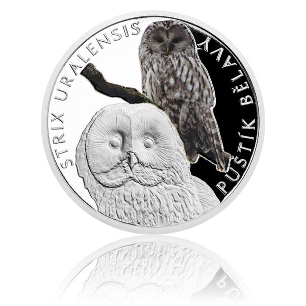 Stříbrná mince Ohrožená příroda - Puštík bělavý proof