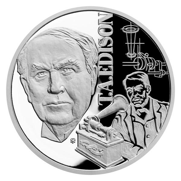 Stříbrná mince Géniové 19. stol. - T. A. Edison proof
