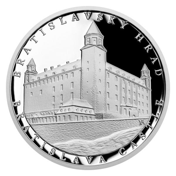 Stříbrná mince Bratislavský hrad proof