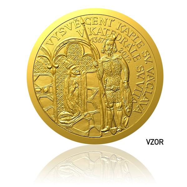Zlatá půluncová medaile Vysvěcení kaple sv. Václava proof