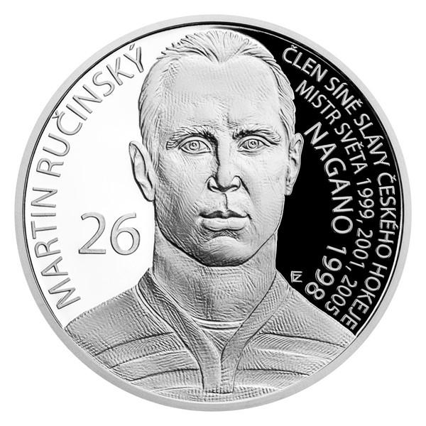 Stříbrná mince Legendy čs. hokeje - Martin Ručinský proof