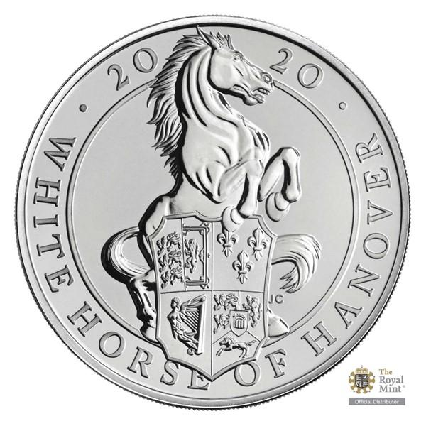 Pamětní mince Královnina heraldická zvířata – Bílý kůň Hannoveru UK 2020 stand