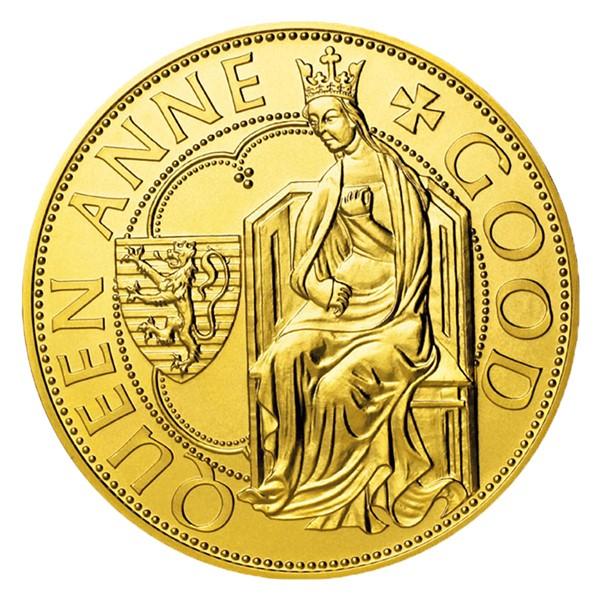 Zlatá investiční mince Dobrá královna Anna stand
